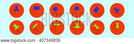 Set Of Thumb Tacks Cartoon Icon Design Template With Various Models. Modern Vector Illustration Isol