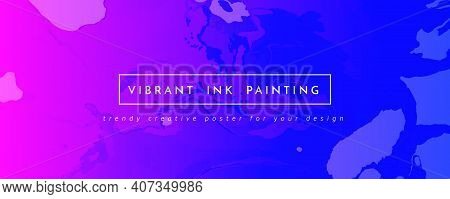 Abstract Fluid. Purple Pink Dynamic Marble. Digital Liquid Design. Alcohol Inks Paint Background. Cr