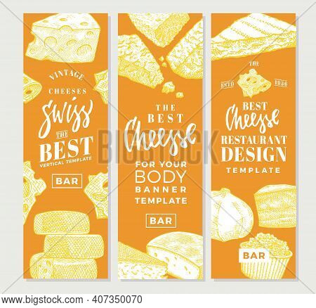 Hand Drawn Food Products Vertical Banners With Different Sorts And Varieties Of Cheese Vector Illust
