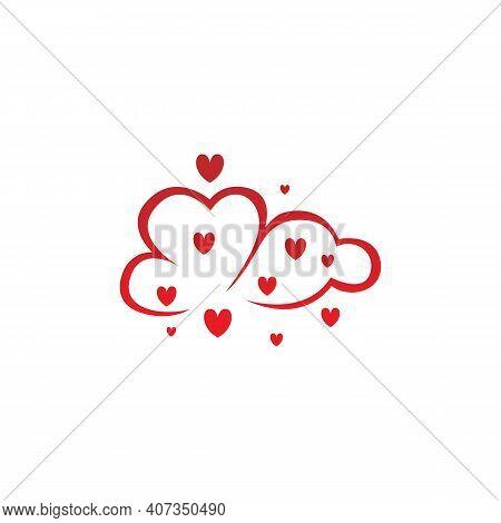 Heart Logo Concept, Cloud Heart Logo,two Heart Shape, Love Logo Concept, Heart Logo, Heart Icon, Lov