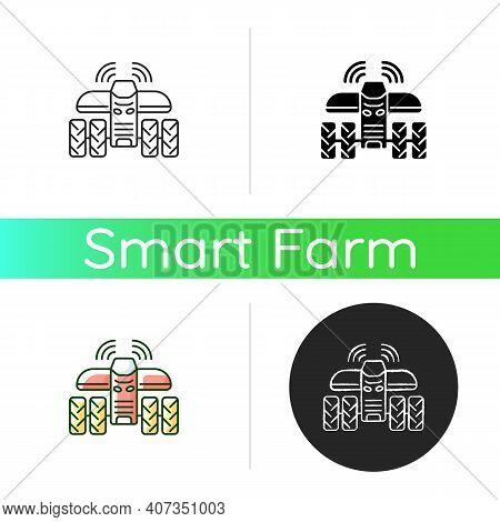 Driverless Tractors Icon. Autonomous Farm Vehicle. Agricultural Technology. Self-driving Tractor. Li