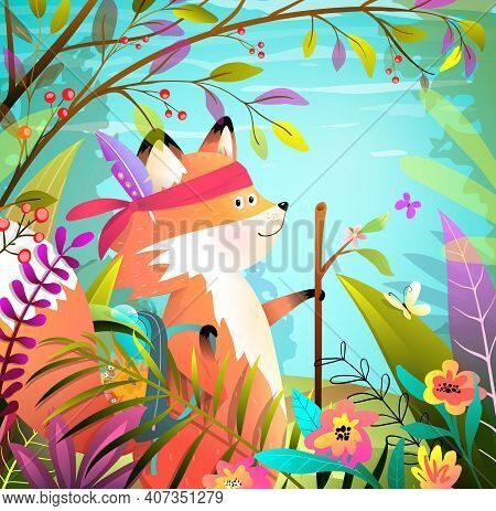 Little Brave Cute Fox Animal Goes Hiking Adventure In Wild And Bright Forest Landscape. Colorful Ani