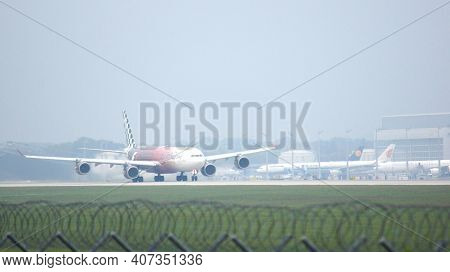 Munich, Germany - 11 October 2015: Etihad Airways Airbus A340 Take Off At Airport