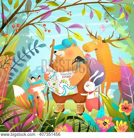 Animals Go Hiking And Camping Adventures In The Leafy Forest With Treasure Map, Children Cartoon. Su