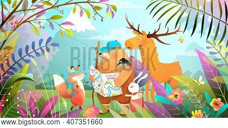 Group Of Animals Friends Hiking In Magic Forest With Leaves Flowers And Mountains. Nature Landscape