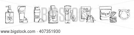 Set Of Hand Drawn Korean Beauty Products Icons. Cosmetics For Skin Cleansing. Vector Black And White