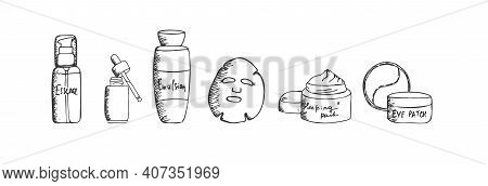 A Set Of Hand Drawn Korean Beauty Products For Special Skin Facial Care. Essence Bottle, Serum, Emul