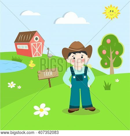 Farmers Landscape With Farmer, Goose And Duckling, Cute Vector Illustration In Flat Cartoon Style