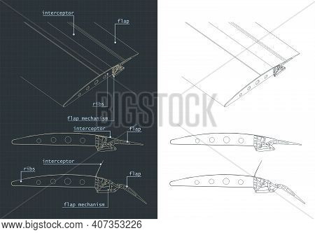 Aircraft Wing Structure And Flaps Systems Blueprints
