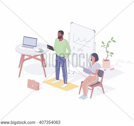 People Rehearse Interview Speech Realistic Isometric. Male And Female Applicants With Tablets Checki