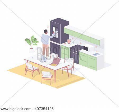 Customizer Programming Smart Home Kitchen Isometric Vector. Male Character Conducts Final Testing Ho