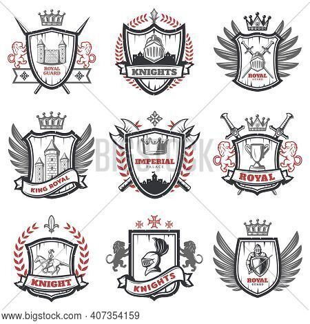 Medieval Knight Coats Of Arms Set With Heraldic Shields Weapon And Elements In Vintage Style Isolate