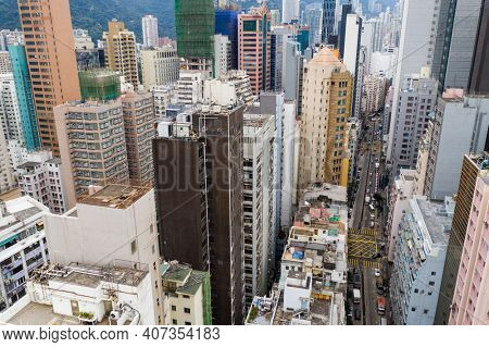 Causeway Bay, Hong Kong 07 January 2021: Top down view of Hong Kong city