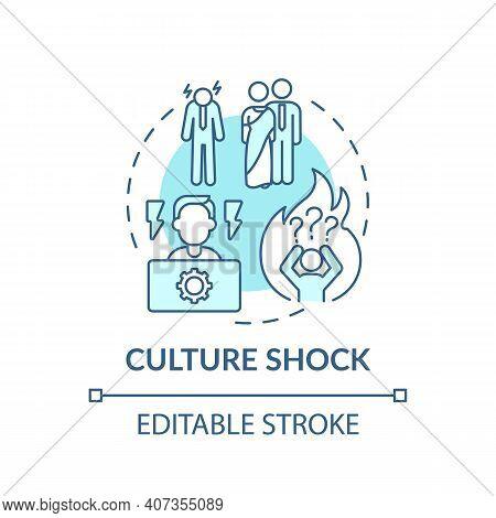 Entering New Culture Person Has Unpleasant Sensations Concept Icon. Conflict Different Cultures Idea