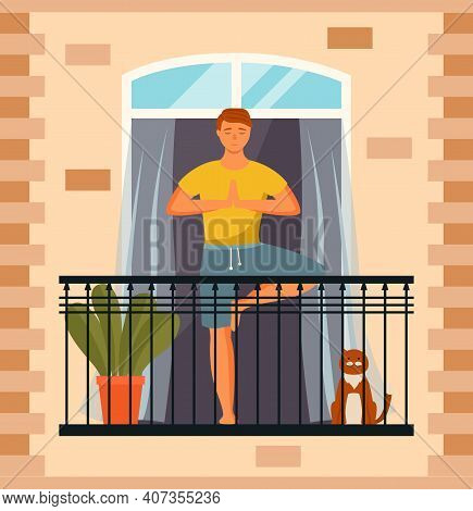 Man Practicing Yoga On The Balcony. Guy Is Standing In A Tree Pose. Person Doing Assana Vector Illus