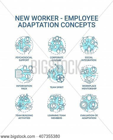 Adaptation Of New Worker Concept Icons Set. Psychosocial Support And Team Spirit Idea Thin Line Rgb