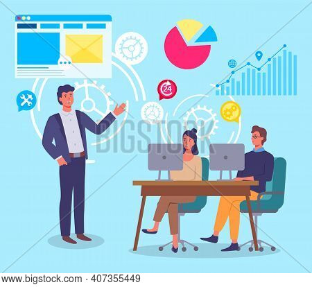 Marketing Concept, Colleagues Teamwork Process, Office Workers Working At Project, Plan, Statistics,