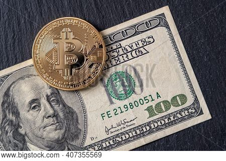 Bitcoin Cryptocurrency Equivalent To Dollar, A Banknote Of One Hundred Units. Future Virtual Currenc