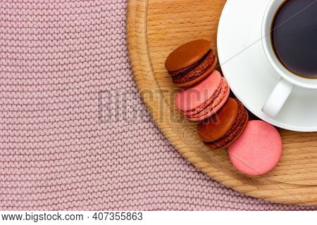 Macaroon Macaroons And A Cup Of Coffee. Flat Lay.