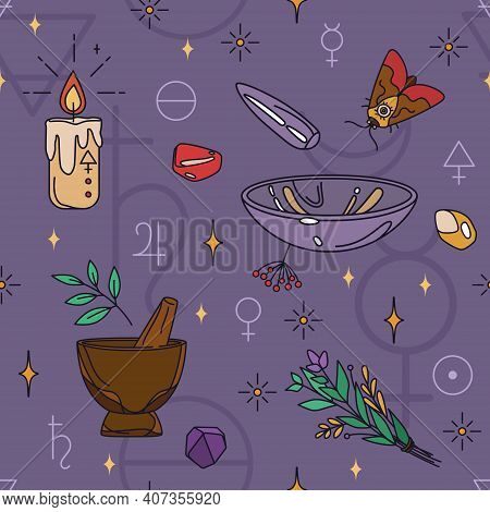 Seamless Wicca Pattern With Alchemy Symbols And Mortars. Witchcraft And Shamanism - Esoteric Print D