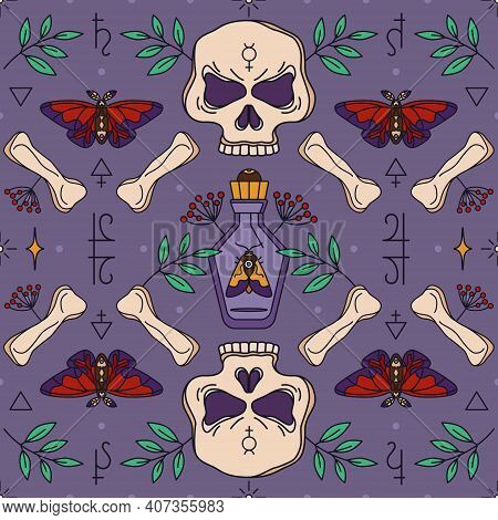 Seamless Wicca Pattern With Skull, Bones And Potion Bottle. Herbal Healing And Shamanism - Esoteric