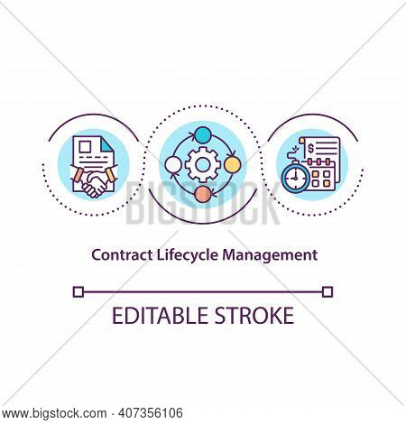 Contract Lifecycle Management Concept Icon. Contract Processes Automation Idea Thin Line Illustratio