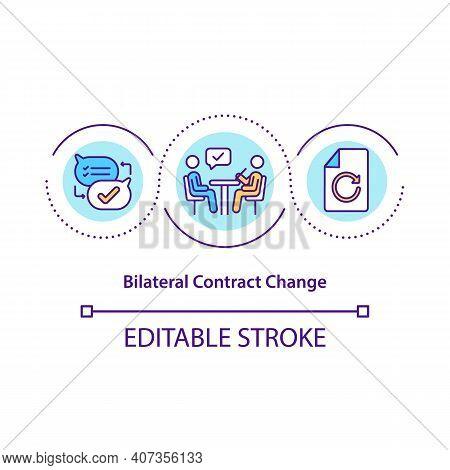 Bilateral Contract Change Concept Icon. Contract Conditions Modification Idea Thin Line Illustration