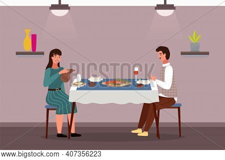 People At Lunch In Georgian Style. Couple On A Date In A Theme Restaurant Eats Khinkali And Adjarian