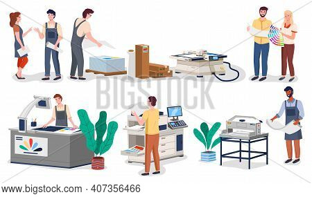 Printing House Different Equipment. Printer Plotter, Offset Cutting Machines And People Workers. Ind