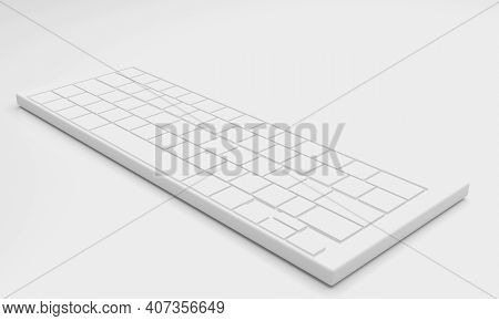 Computer White Keyboard Input Device 3d Illustration 3d Render On White Background.