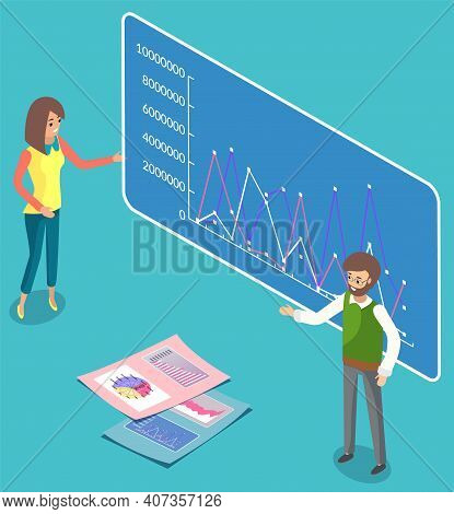 Woman Office Worker Gives A Report Explains For A Man, Cheerful Girl Standing Near Demo Poster With