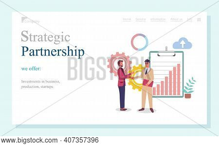 Strategic Partnership, Investments In Business, Production, Startups, Landing Page Of Business Websi