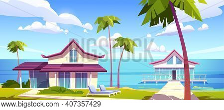 Modern Bungalows On Island Resort Beach, Tropical Summer Landscape With Houses On Piles With Terrace