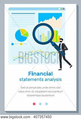 Finance Report Concept. Financial Statements Analysis Landing Page Template With A Man At The Statis