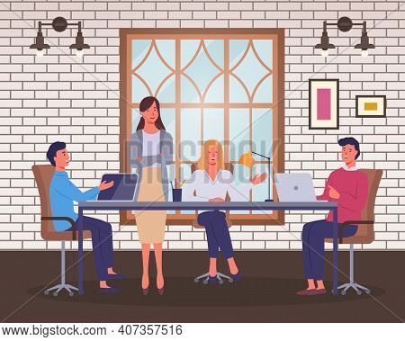 Office Staff, Employees, Negotiations. Business People Are Sitting At Table, Using Laptops, Negotiat