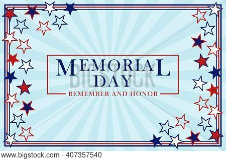 Memorial Day Background With Stars And Stripes. Template For Memorial Day Design. Memorial Day Backg