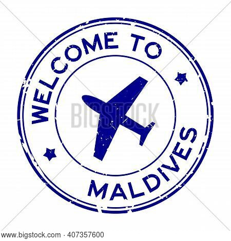 Grunge Blue Welcome To Maldives Word With Airplane Icon Round Rubber Seal Stamp On White Background