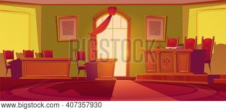 Courtroom Empty Interior With Wooden Desk With Scales And Wood Gavel, Chairs, Arch Window With Red C