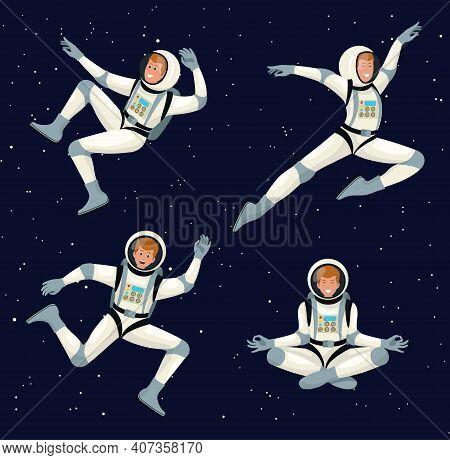 Vector Set Of Cartoon Flat Spacemans, Cosmonauts In Spacesuit With Helmet. Set Astronauts Dancing Me