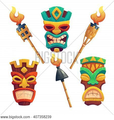 Tiki Masks, Hawaiian Tribal Totem And Burning Torches On Bamboo Stick. Vector Cartoon Set Of Polynes