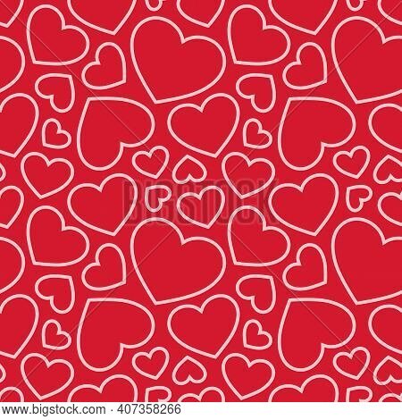 Hearts Seamless Pattern. Valentines Day Background. Love Romantic Theme. Vector Abstract Texture Wit