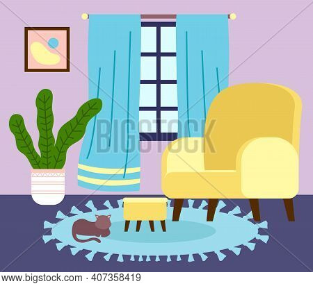 Interior Of Stylish Living Room With Domestic Cat At Carpet, Comfortable Soft Armchair With Footrest