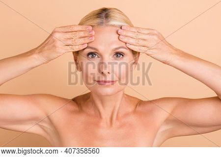 Photo Of Natural Beauty Aged Lady Naked Shoulders Touch Forehead Perfect Skin Look Mirror Anti Age C