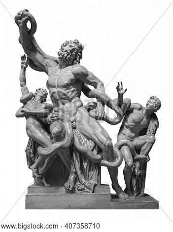 Front view of famous laocoon roman copy sculpture isolated on white background. Trojan Laocoon was strangled by sea snakes with his two sons