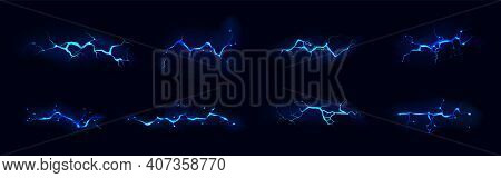 Lightning, Electric Thunderbolt Strike Of Blue Color During Night Storm, Impact, Crack, Magical Ener