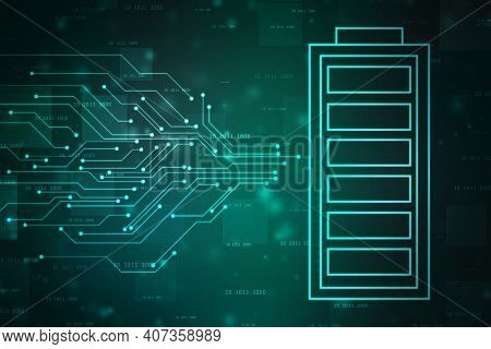 Battery Icon In Digital Background, Battery Supply Concept Background, Energy Efficiency Concept, Po