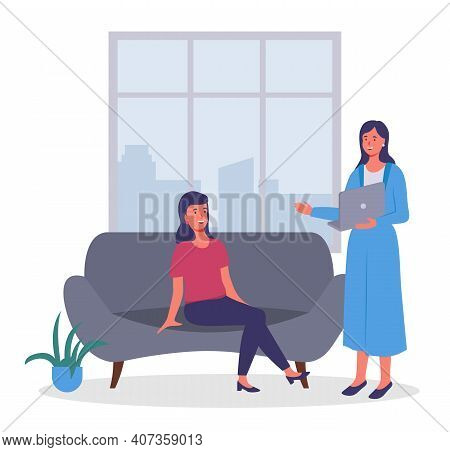 Businesswomen Dressed In Formal Clothes Sitting On The Sofa, Standing With Computer In Room And Talk