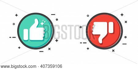 Thumb Up And Thumb Down Icon. Like And Dislike Icon On White Background. Flat Design. Vector Illustr