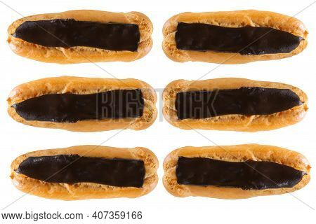 Eclairs Top View. A Group Of French Eclairs.