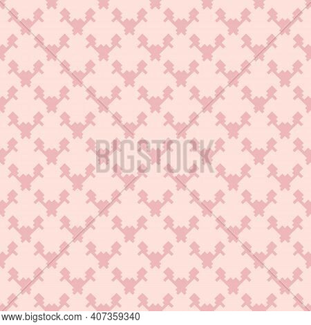 Vector Geometric Seamless Pattern. Texture Of Textile, Fabric, Cloth, Jacquard. Pink Color. Simple A